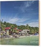 Koh Rong Island Beach Bars In Cambodia Wood Print