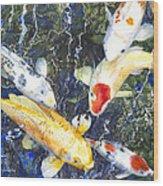 Koi Deep Blue Wood Print