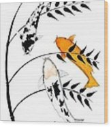 Koi Utsurimono Yellow Golden Ogon Bekko And Bamboo   Wood Print