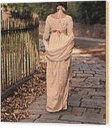Lady In Regency Dress Walking Wood Print