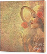 1-lady In The Flower Garden Wood Print