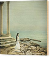 Lady In White By The Sea Wood Print