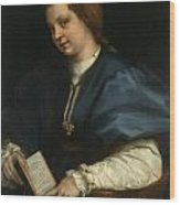 Lady With A Book Of Petrarch's Rhyme Wood Print