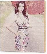 Lady With Red Parasol Wood Print