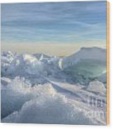 Lake Erie Ice Sunrise Wood Print