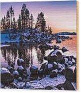 Lake Tahoe Winter Sunset Wood Print