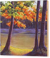 Lake Trees Wood Print by MaryAnn Stafford