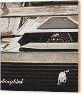 Lamborghini Rear View Emblem Wood Print