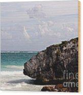 Large Boulder On A Caribbean Beach Wood Print