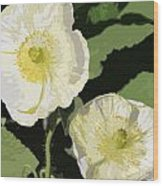 Large White Flowers Abstract Wood Print
