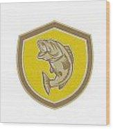 Largemouth Bass Jumping Shield Retro Wood Print