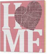 Las Vegas Street Map Home Heart - Las Vegas Nevada Road Map In A Wood Print