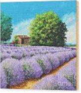 Lavender Lines Wood Print