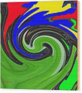Leaf And Color Abstract Wood Print