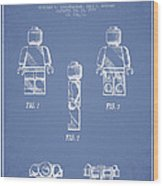 Lego Toy Figure Patent - Light Blue Wood Print by Aged Pixel