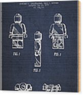 Lego Toy Figure Patent - Navy Blue Wood Print by Aged Pixel