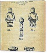 Lego Toy Figure Patent - Vintage Wood Print