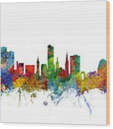 Leicester England Skyline Wood Print