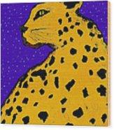 Leopard At Midnight Wood Print