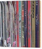 Lets Ski Wood Print