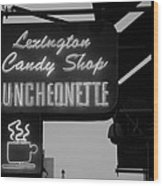 Lexington Candy Shop In Black And White Wood Print