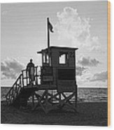 Lifeguard Hut On The Beach, 22nd St Wood Print