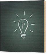 Light Bulb On A Chalkboard Wood Print