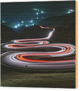 Light Trails Of Cars On The Zigzag Way Wood Print