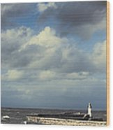 Lighthouse At Whitehaven Wood Print