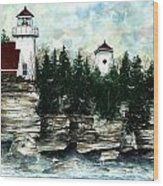 Lighthouse Cliff Wood Print