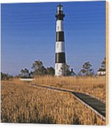 Lighthouse In A Field, Bodie Island Wood Print