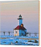 Lighthouse On Ice Wood Print
