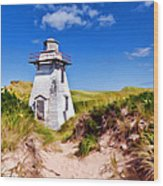 Lighthouse On The Dunes Wood Print