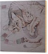 Lilly And Maddie Wood Print by Kathy Weidner