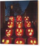 Lit Pumpkins With Demon On Halloween Wood Print