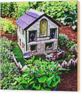 Little Garden Farmhouse Wood Print