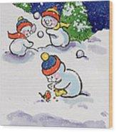 Little Snowmen Snowballing Wood Print
