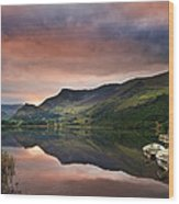 Llyn Nantlle At Sunrise Looking Towards Mist Shrouded Mount Snow Wood Print by Matthew Gibson