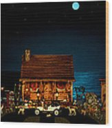 Log Cabin And Out House  Scene With Old Vintage Classic 1908 Model T Ford In Color Wood Print by Leslie Crotty