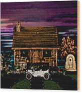 Log Cabin Scene At Sunset With The Old Vintage Classic 1913 Buick Model 25 Wood Print