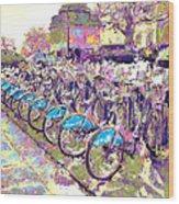 London Bikes Wood Print