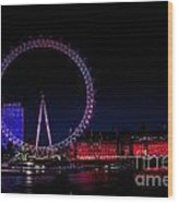London Eye In Red White And Blue Wood Print