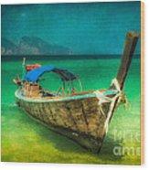 Longboat Thailand Wood Print
