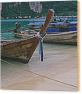 Longtail Boats Moored On The Beach Wood Print