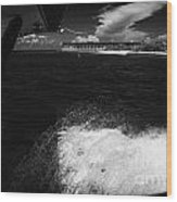 Looking Out Of Seaplane Window Landing On The Water Next To Fort Jefferson Garden Key Dry Tortugas F Wood Print