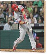 Los Angeles Angels Of Anaheim V Houston 1 Wood Print