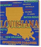 Louisiana State Pride Map Silhouette  Wood Print