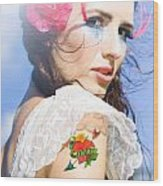 Love Heart And Arrow Tattoo Wood Print