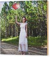 Love Heart Balloons  Wood Print