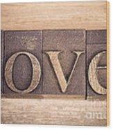 Love In Printing Blocks Wood Print